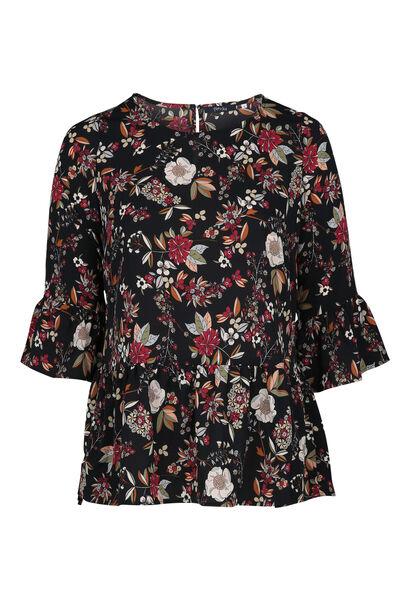 Bluse mit Blumenaufdruck - Schwarz