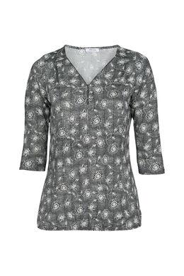 T-Shirt mit Blümchen-Print, Schwarz