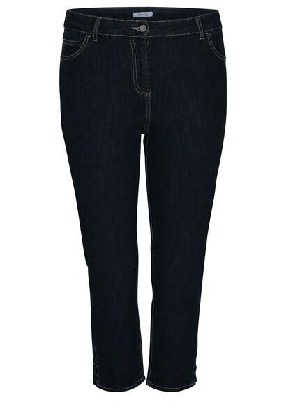 3/4-lange Jeans mit Ösen-Detail - Denim