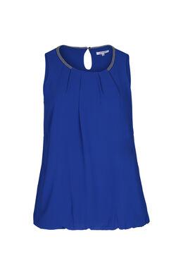 Ärmellose Bluse mit Perlen am Ausschnitt, Blau Bic