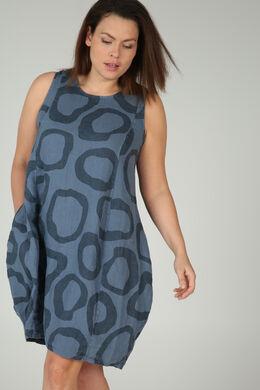 Kleid aus bedrucktem Leinen, Indigo