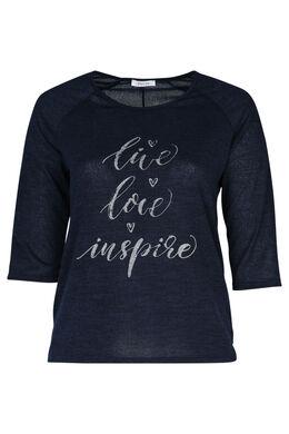 """T-Shirt mit Aufdruck """"Live, love, inspire"""", Marine"""