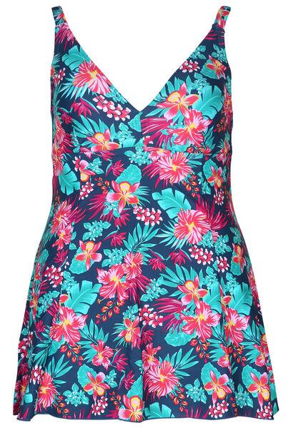 Mit tropischen Motiven bedrucktes Badekleid - Multicolor
