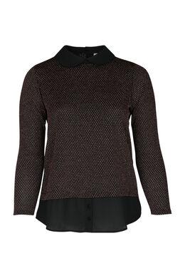 Oberteil mit 2-in-1-Effekt: Pullover mit Hemd, Schwarz