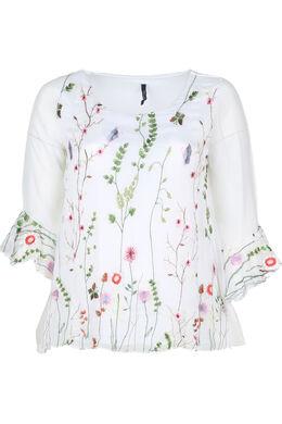 Mit Blumen bestickte Bluse, weiß