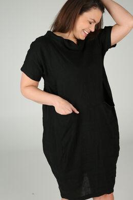 Kleid mit Balloneffekt aus Leinen, Schwarz