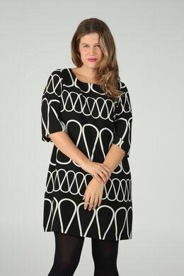 Kleid mit Zellwollabdeckung und Zick-Zack-Aufdruck, Schwarz