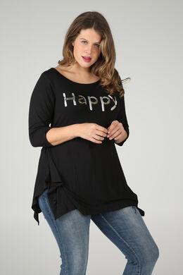 """T-Shirt mit Schriftzug """"Happy"""" aus Pailletten und Perlen, Schwarz"""