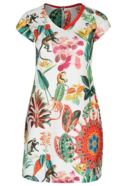 Mit tropischen Motiven und Affen bedrucktes Kleid - Multicolor