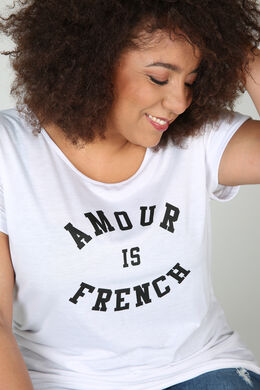 """T-Shirt """"Amour is French"""", weiß"""