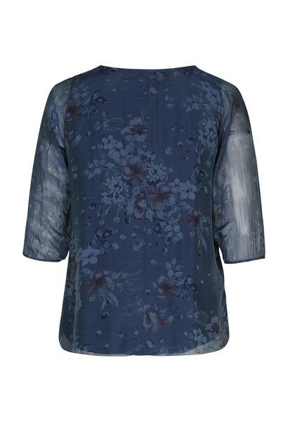 Bluse mit Blumen- und Pünktchendruck - Indigo