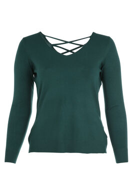 Pullover mit Gitterrückenausschnitt, Grün