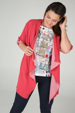 Lange Jacke aus gestreiftem Strick, Rot