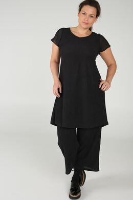 Kleid mit kurzen Ärmeln aus Voile, Schwarz
