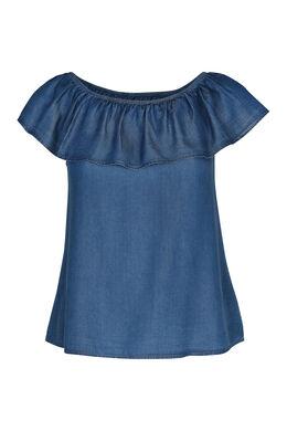 Bluse aus Lyocell-Jeans mit elastischem Ausschnitt, Denim
