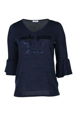 T-Shirt aus warmem Material mit Aufdruck, Marine