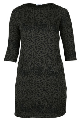 Kleid mit Tierfell-Print, Khaki