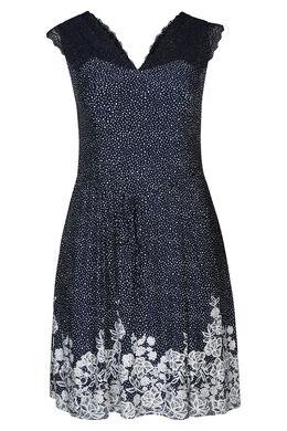 Kleid mit Spitzen-Details, Marine