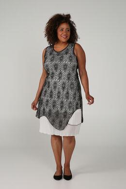 Bedrucktes Kleid, Schwarz