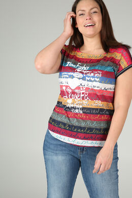 Bedrucktes T-Shirt aus Leinen, Multicolor