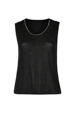 T-Shirt aus Lurex-Gewebe, Schwarz