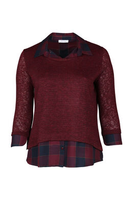 Bluse in 2-in-1-Optik, Bordeaux