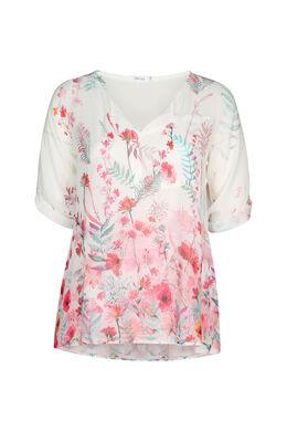 Bluse mit Blumenmuster und Strassverzierung, Fuchsie
