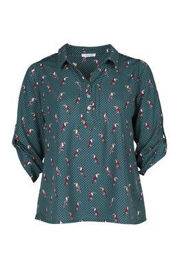 Mit Tupfen und Tukanen bedruckte Bluse, Grün