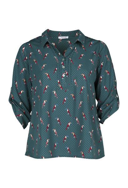 Mit Tupfen und Tukanen bedruckte Bluse - Grün