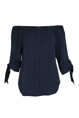 Bluse mit 3/4-Ärmeln und Bindeverschluss an den Ärmeln, Indigo