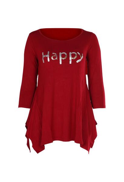 """T-Shirt mit Schriftzug """"Happy"""" aus Pailletten und Perlen - Bordeaux"""