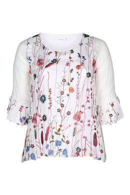 Bluse mit 3/4-Ärmeln mit Rüschen, Multicolor