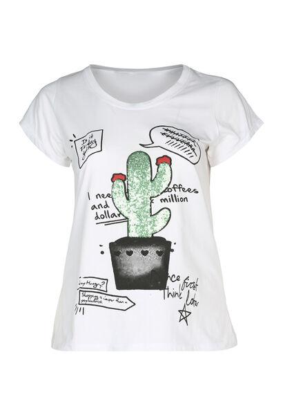 T-Shirt mit Kaktus-Aufdruck und Pailletten - weiß