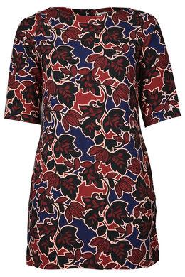 Kleid in entspannter Passform mit Blattmuster-Print, Blau Bic