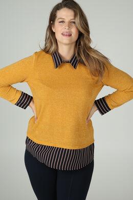 Pullover mit 2-in-1-Effekt, ocker