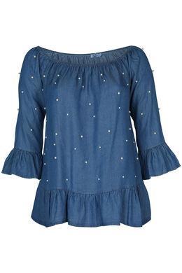 Bluse aus Lyocell mit elastischem Ausschnitt und Perlen, Denim