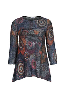 Flauschiger Tunika-Pullover, Multicolor