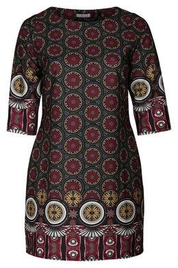Kleid mit Mosaikdruck, Bordeaux