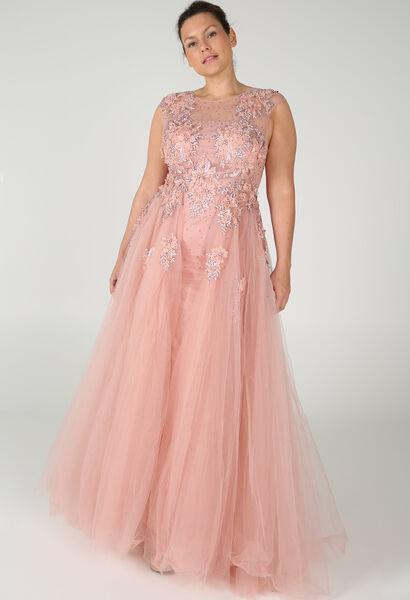 Märchenhaftes Kleid mit Stickerei und Perlen - Rosa