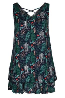 Ärmelloses Kleid mit Blattmuster- und Flamingo-Print, Grün