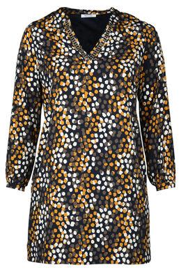 Kleid in entspannter Passform mit Tupfenaufdruck, ocker
