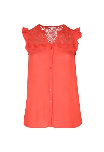 Bluse mit Makramee-Spitze - Orange
