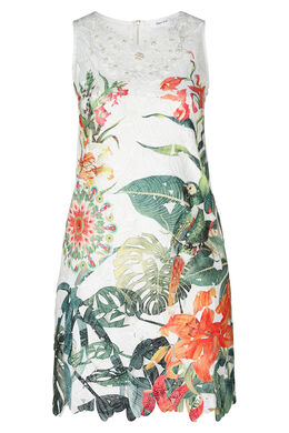 Mit tropischen Motiven bedrucktes Kleid aus Spitze, Multicolor