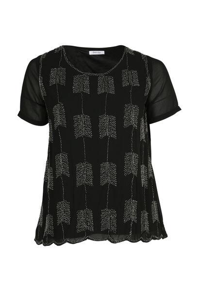 Gefütterte Bluse aus Voile - Schwarz