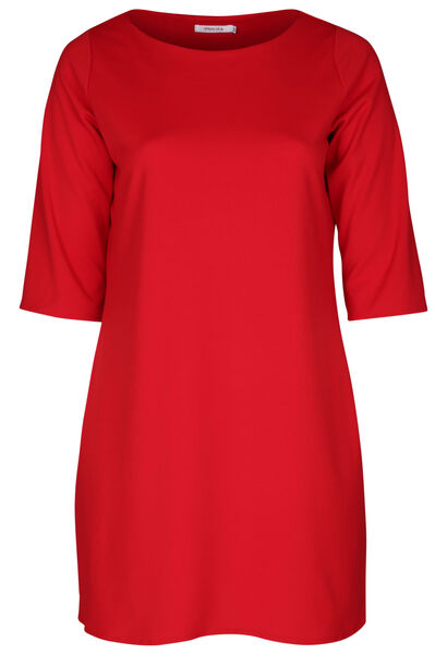 Kleid aus einfarbigem Krepp - Rot