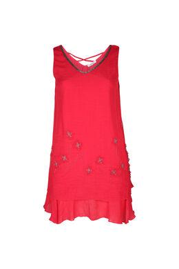 Einfarbiges Kleid mit Blüten aus Mesh und Perlen, Koralle