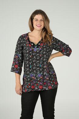 Bluse mit Blumendruck, Multicolor