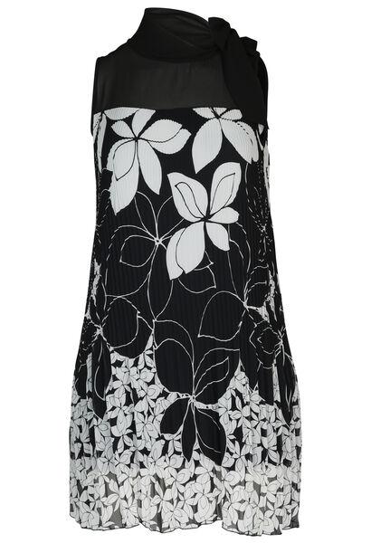 Kleid aus Voile mit Blumenaufdruck - Schwarz