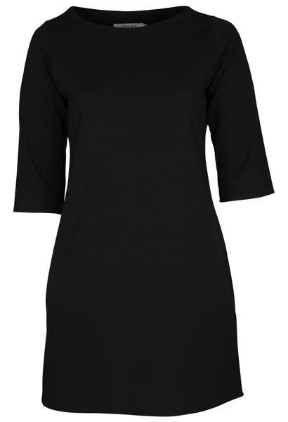 Kleid aus einfarbigem Krepp - Schwarz
