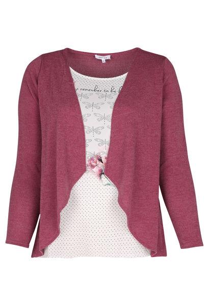 T-Shirt mit 2-in-1-Effekt - Alte Rosa